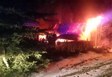 Nocny pożar w Malinówce
